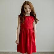 Одежда детская handmade. Livemaster - original item Red linen dress for Molly girl. Handmade.