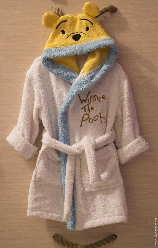 Халаты ручной работы. Ярмарка Мастеров - ручная работа. Купить Детский махровый халат Винни Пух. Handmade. Детский халат