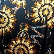 Ткани ручной работы. Ярмарка Мастеров - ручная работа Шелк-стретч от Dior Индейские амулеты цвет терракот черный Италия. Handmade.