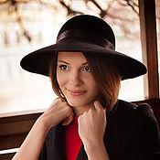 Аксессуары handmade. Livemaster - original item Wide-brimmed hat with a tight brim. black. Handmade.