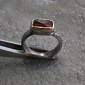 Украшения handmade. Livemaster - original item Garnet ring, silver and brass. Handmade.