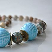 Украшения handmade. Livemaster - original item Beads from ceramic and natural stone BAZAAR. Handmade.