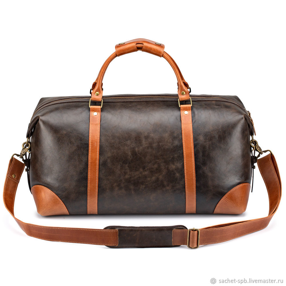 Leather travel bag 'Magnum' (brown with red), Travel bag, St. Petersburg,  Фото №1