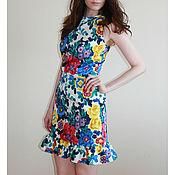 Одежда ручной работы. Ярмарка Мастеров - ручная работа Яркое платье с цветочным рисунком. Handmade.