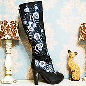 """Обувь ручной работы. Ярмарка Мастеров - ручная работа Сапоги """"Русские узоры"""" кожа. Handmade."""