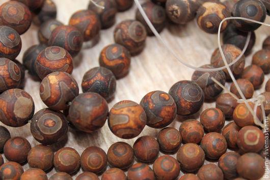 Агат Птичий глаз, цвет - шоколад, матовый шар. Бусины агата 8, 12 мм. Агат для создания украшений. Busimir