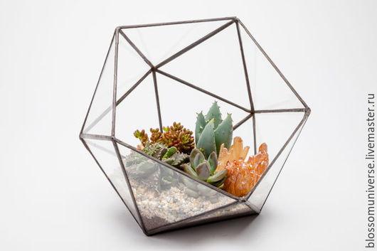 Интерьерные композиции ручной работы. Ярмарка Мастеров - ручная работа. Купить Флорариум с суккулентами и кристаллом. Handmade. Флорариум, стекло, суккулент