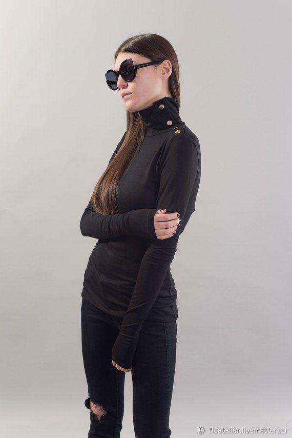 Блузки ручной работы. Ярмарка Мастеров - ручная работа. Купить Черная туника с длинным рукавом / Женская повседневная блузка/F1820. Handmade.