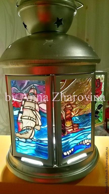 Витражный фонарик `Морские мотивы` .Ручная работа. Жаровина Анна. Ярмарка Мастеров.