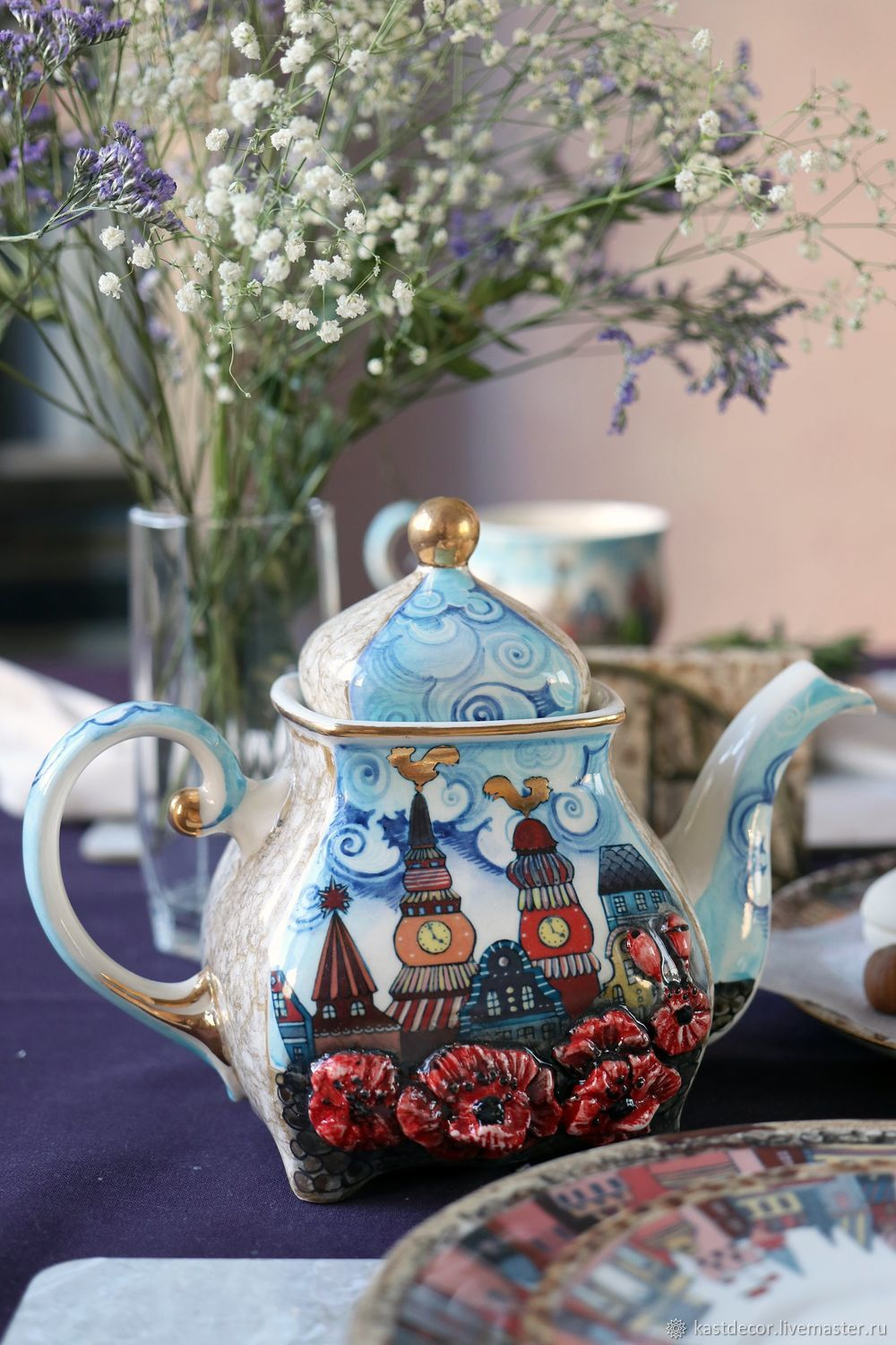The tea pot porcelain 'Old town', Teapots & Kettles, Moscow,  Фото №1