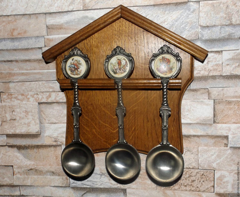 Винтаж: Оловянные мерные ложки на дубовом подвесе, Германия, Винтажная посуда, Трир, Фото №1