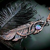 Украшения handmade. Livemaster - original item Copper feather pendant with blue cabochon, electroplating. Handmade.