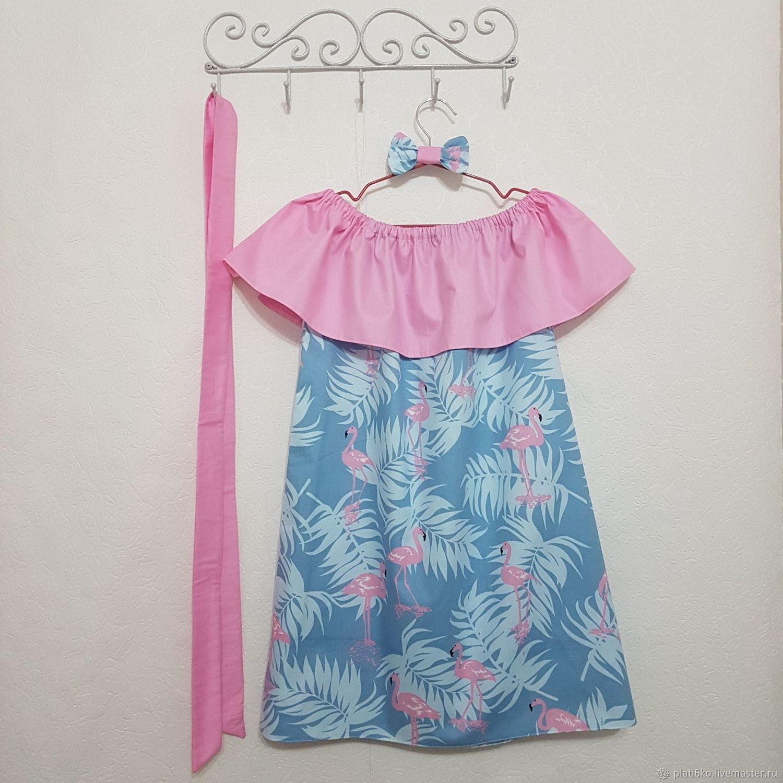 """Одежда для девочек, ручной работы. Ярмарка Мастеров - ручная работа. Купить Детское платье для девочки с воланом из хлопка """"Фламинго"""". Handmade."""