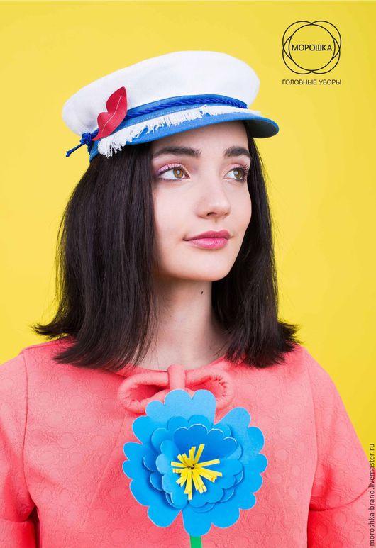 Шляпы ручной работы. Ярмарка Мастеров - ручная работа. Купить Летняя кепка с губками. Handmade. Белый, шляпа для девушки