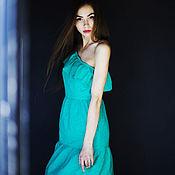 Одежда ручной работы. Ярмарка Мастеров - ручная работа Платье из зеленого хлопкового шитья, на одно плечо. Handmade.