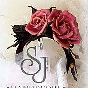 Украшения ручной работы. Ярмарка Мастеров - ручная работа Ободок с кожаными розами. Handmade.
