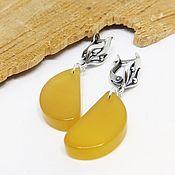 Украшения handmade. Livemaster - original item Earrings with yellow agate Lemon slice. Handmade.