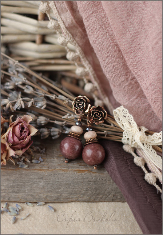 """Серьги ручной работы. Ярмарка Мастеров - ручная работа. Купить Серьги """"Пыльная вишня"""". Handmade. Серьги, бордо, родонит"""