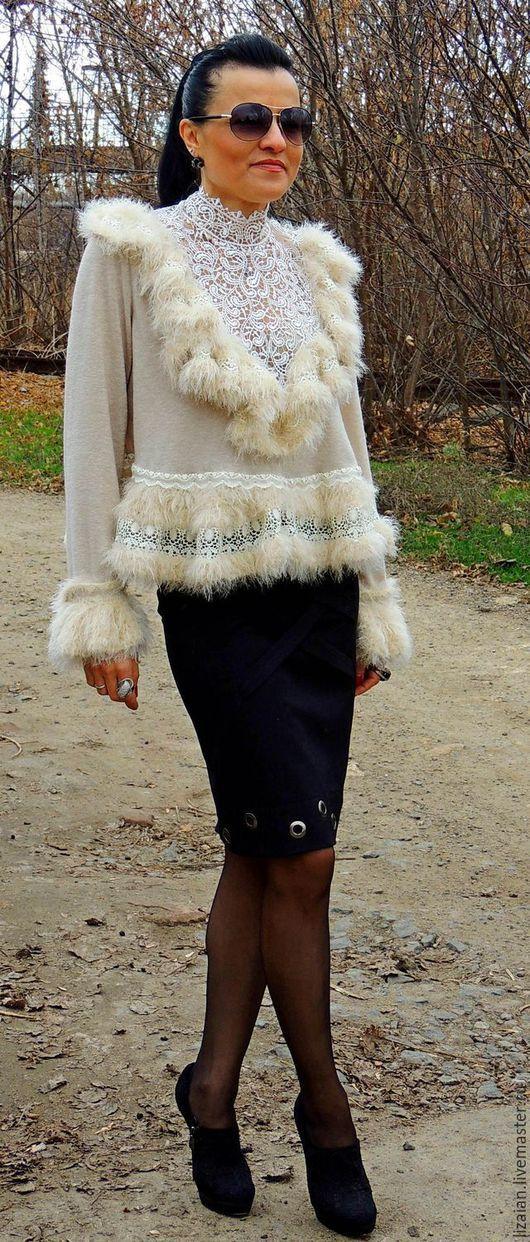 Кофты и свитера ручной работы. Ярмарка Мастеров - ручная работа. Купить Свитер с кружевом (№25). Handmade. Бежевый, блузка с кружевом