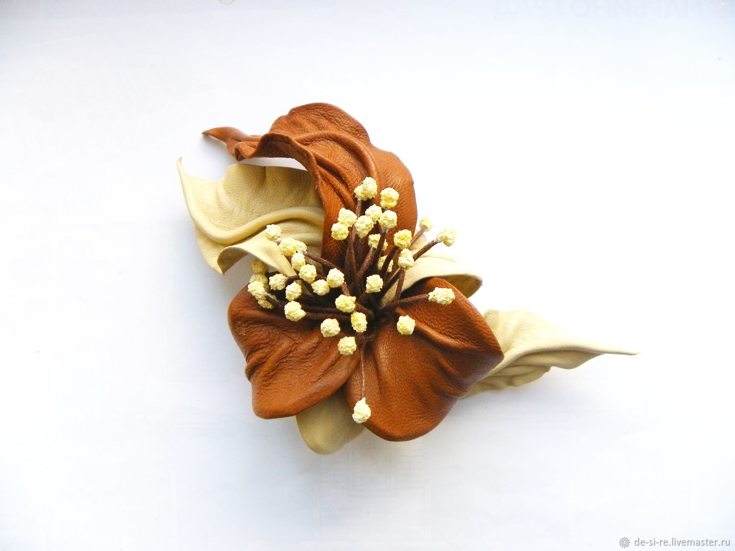 Brooch flower leather legends of the Fall beige light brown red. Brooch gift for women, gift for myself. Buy flower brooch from leather in Moscow. To buy a gift for Moscow brooch#%