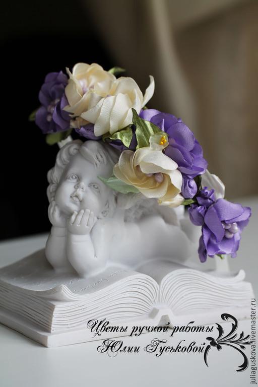 Диадемы, обручи ручной работы. Ярмарка Мастеров - ручная работа. Купить Ободок  с цветами. Handmade. Сиреневый, цветы, цветы из ткани
