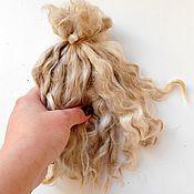 Материалы для творчества ручной работы. Ярмарка Мастеров - ручная работа Кудри для кукол белые(козочка ) не мытые , кукольные локоны. Handmade.