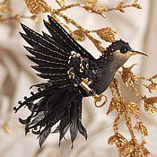 Украшения ручной работы. Ярмарка Мастеров - ручная работа брошь - птица колибри. Ночная. Handmade.