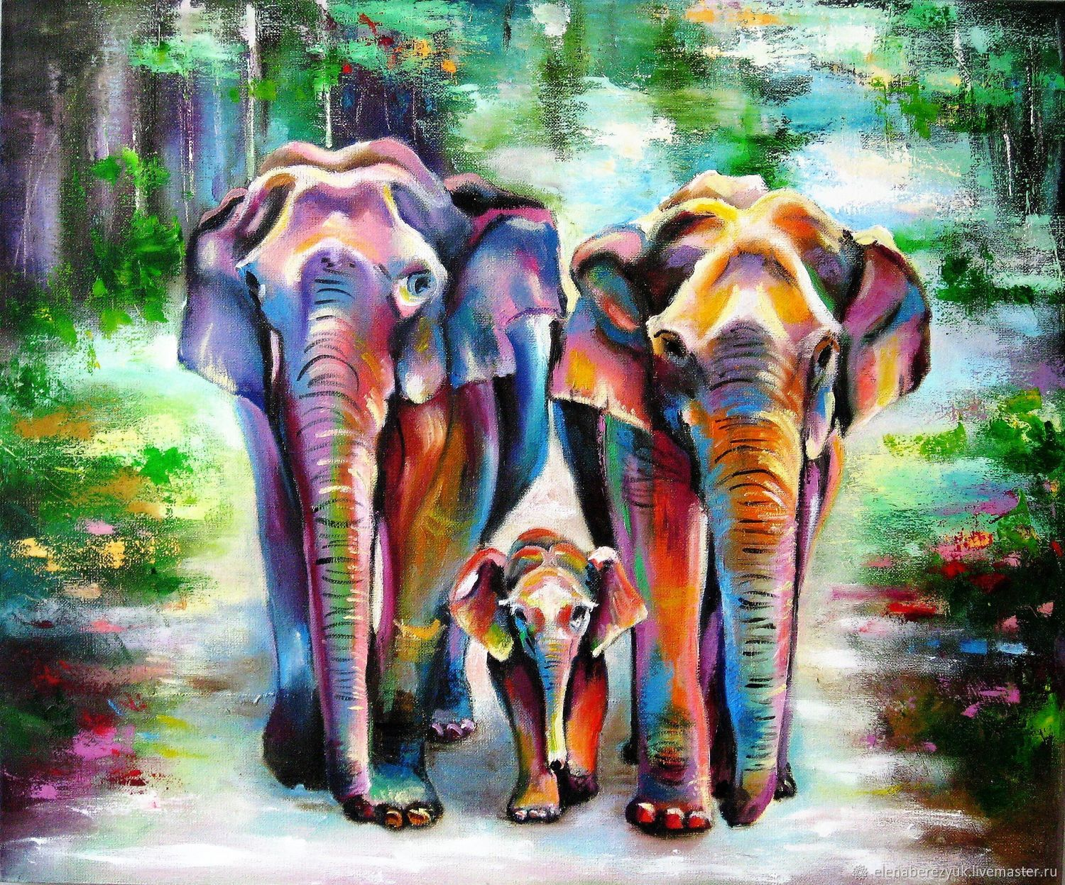 elephans landscape oil painting on canvas tropical animal painting