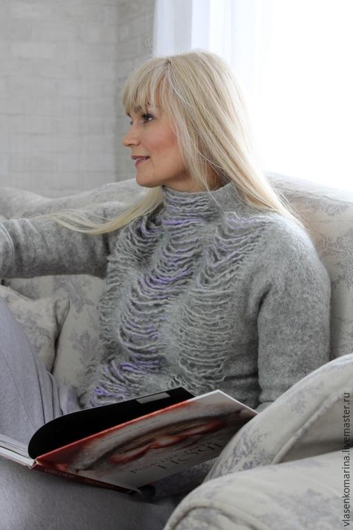Кофты и свитера ручной работы. Ярмарка Мастеров - ручная работа. Купить Свитер валяный Снежный барс. Handmade. Абстрактный