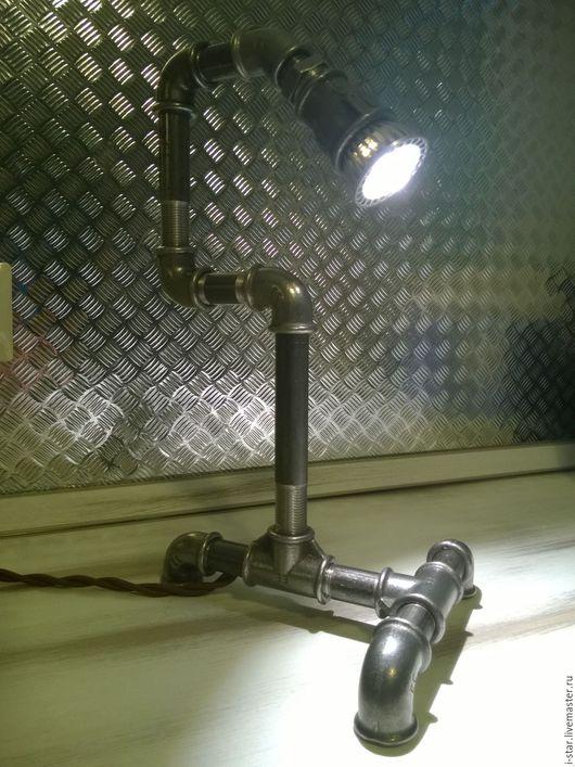 Освещение ручной работы. Ярмарка Мастеров - ручная работа. Купить Настольная лампа лофт. Handmade. Серый, светильник, сталь