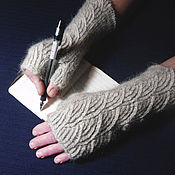Аксессуары handmade. Livemaster - original item Women`s knitted fingerless gloves `Clounds`. Handmade.