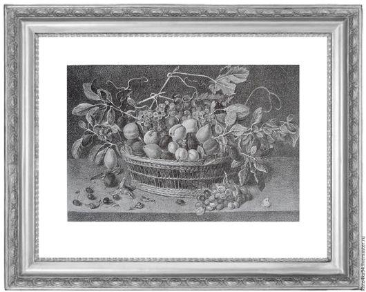 Картина натюрморт с фруктами гравюра литография в стиле голландского натюрморта черно-белые и серые оттенки украшение любого интерьера отличный подарок на любой случай