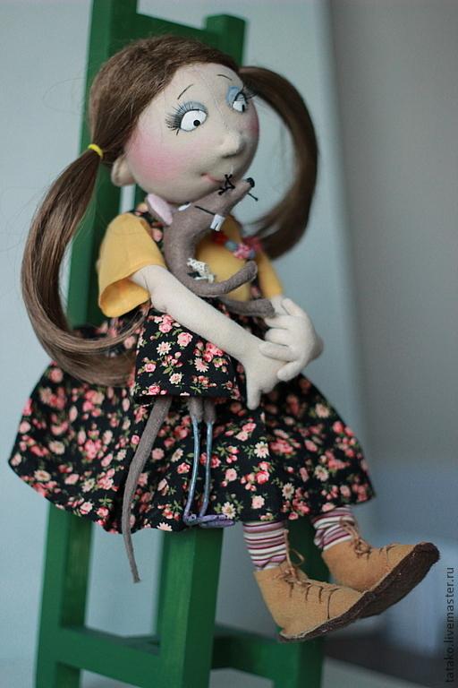 Коллекционные куклы ручной работы. Ярмарка Мастеров - ручная работа. Купить кукла Масяня и  мышка Фрося. Handmade. сарафан, трессы