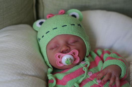 """Для новорожденных, ручной работы. Ярмарка Мастеров - ручная работа. Купить Комплект """"Принцесса Лягушка"""" для малышки.. Handmade. В полоску"""