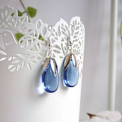 Украшения handmade. Livemaster - original item Earrings Silver Drops Rainbow Colored Glass Blue Transparent. Handmade.