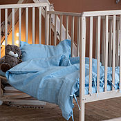 Для дома и интерьера handmade. Livemaster - original item Linen bed linen for a baby cot in blue color. Handmade.
