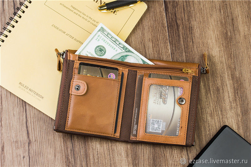Men's wallet genuine leather Sakis / Buy handmade, Wallets, Moscow,  Фото №1