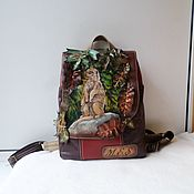 Сумки и аксессуары handmade. Livemaster - original item Leather backpack with engraving, painting and applique to order.. Handmade.