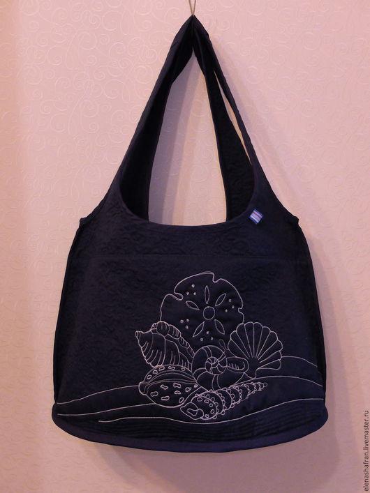 Женские сумки ручной работы. Ярмарка Мастеров - ручная работа. Купить Пляжная сумка. Handmade. Тёмно-синий, подарок подруге