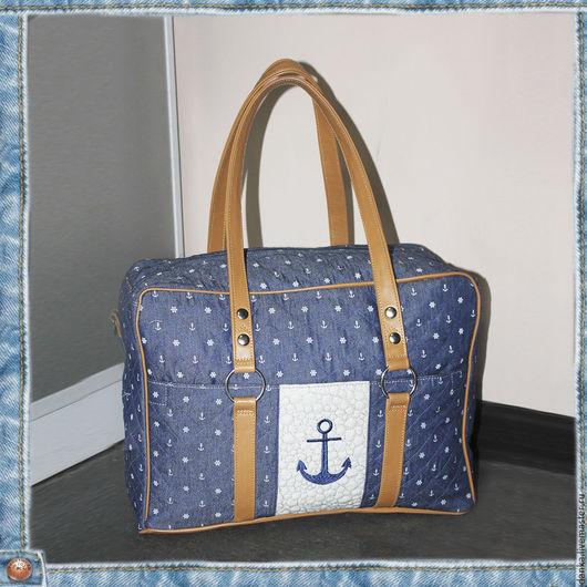 Чемоданы ручной работы. Ярмарка Мастеров - ручная работа. Купить Дорожная сумка. Handmade. Тёмно-синий, сумка на морскую тему