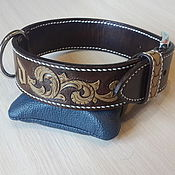 Для домашних животных, handmade. Livemaster - original item Collar for dog personalized genuine leather. Handmade.