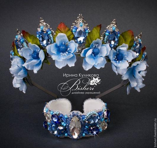 """Диадемы, обручи ручной работы. Ярмарка Мастеров - ручная работа. Купить Набор """"blue star""""-корона и браслет. Handmade. Голубой"""