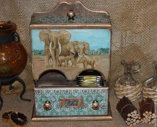 """Кухня ручной работы. Ярмарка Мастеров - ручная работа. Купить """" Индийский чай"""" домик для чайных пакетиков с ящичком.. Handmade."""