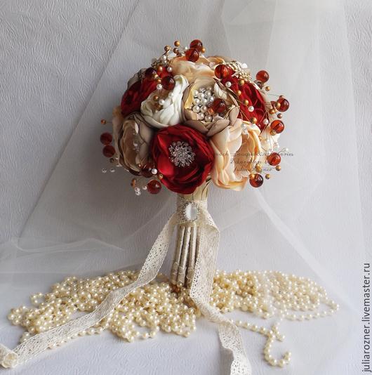 """Свадебные цветы ручной работы. Ярмарка Мастеров - ручная работа. Купить Брошь-букет """"Гранатовый"""". Handmade. Ярко-красный, броши"""