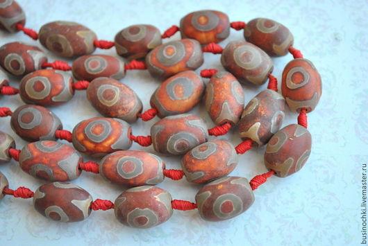 Для украшений ручной работы. Ярмарка Мастеров - ручная работа. Купить Агат Дзи тибетские бусины рыжие. Handmade. Рыжий
