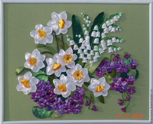 """Картины цветов ручной работы. Ярмарка Мастеров - ручная работа. Купить Картина лентами """"Приглашение в весну"""". Handmade. Картина весны"""