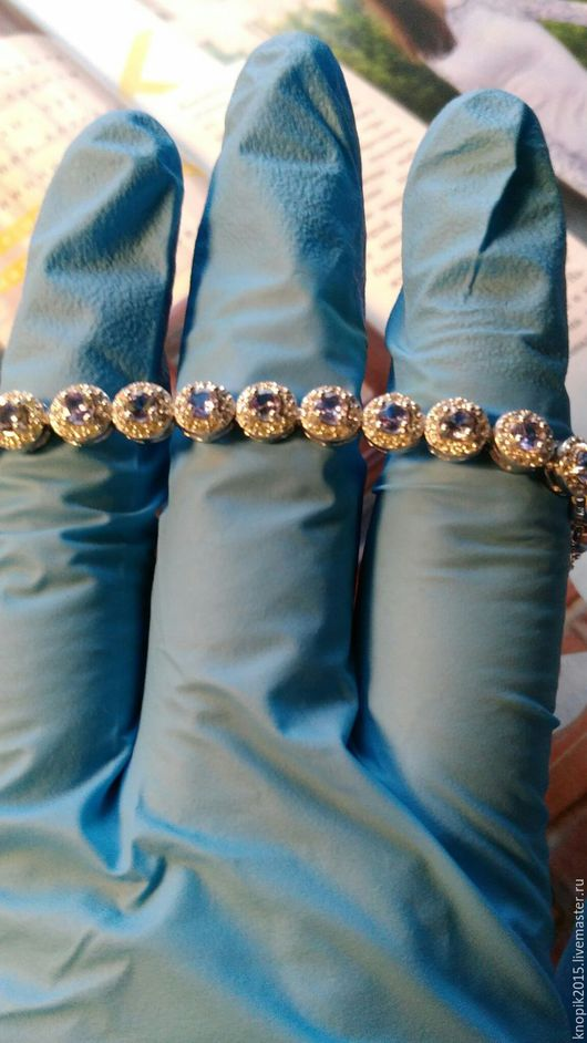 Браслеты ручной работы. Ярмарка Мастеров - ручная работа. Купить браслет из серебра с природным  танзанитом. Handmade. Голубой, природный камень