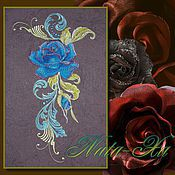 Материалы для творчества handmade. Livemaster - original item Design for machine embroidery. Blue rose (set). Handmade.