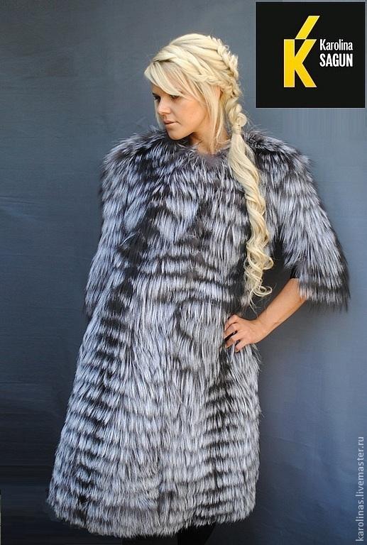 Верхняя одежда ручной работы. Ярмарка Мастеров - ручная работа. Купить Пальто из финской чернобурой лисы. Handmade. Серебряный