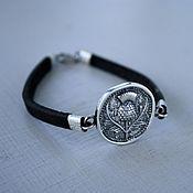 Украшения handmade. Livemaster - original item Leather bracelet with Thistle 925 silver. Handmade.